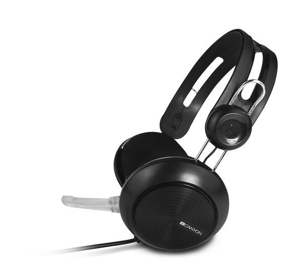 Canyon CNE-CHSU1B, PC Headset, USB, slúchadla s mikrofónom, ovládanie na kábli, čierne