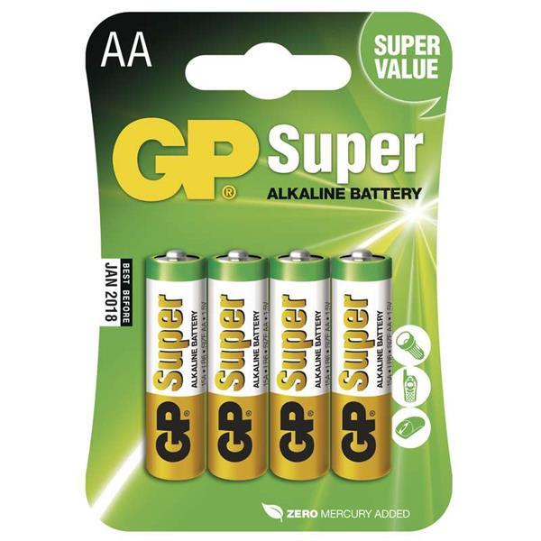 GP alkalická AA batéria , balenie 4 ks blister