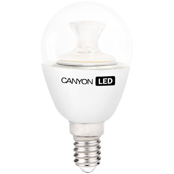 Canyon LED COB žiarovka, E14, kompakt guľatá priehľad. 3.3W, 262 lm, neutrál biela 4000K, 220-240V, 150°, Ra>80, 50.000h