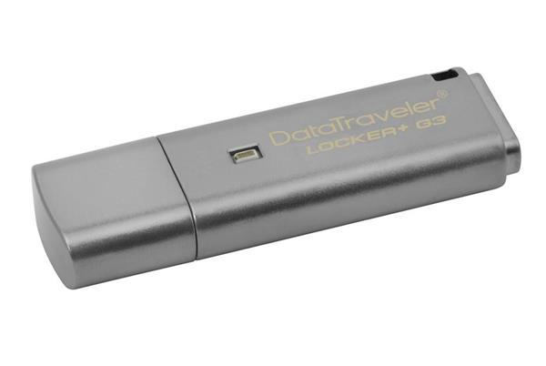 8 GB . USB klúč . Kingston DataTraveler Locker sivý + G3 w/Automatic Data Security ( r80MB/s, w10MB/s )