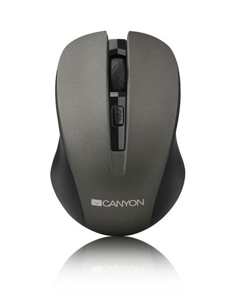 Canyon CNE-CMSW1G, Wireless optická myš USB, 800/1000/1200 dpi, šedo-čierna