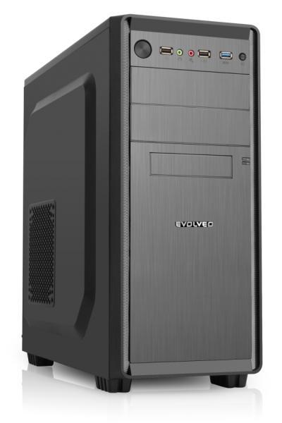 Evolveo R05 case, ATX, 500W 80%, PSU, 2xUSB 2.0, 1xUSB 3.0 + audio výstup, čierny
