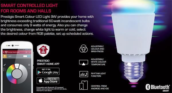 Prestigio Smart LED Light E27 9W AC 100-240 V Bluetooth 6000K Color