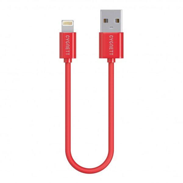 Cygnett nabíjací a synchronizačný kábel Lightning/USB, MFi schválený, 10cm, červený