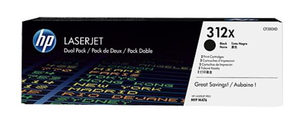 HP 312X 2-pack High Yield Black LaserJet Toner Cartridges (CF380XD)