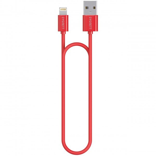 Cygnett nabíjací a synchronizačný kábel Lightning/USB, MFi schválený, 1.2m, červený