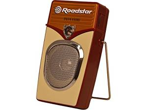 ROADSTAR VINTAGE STYLE PORTABLE AM-FM RADIO, EARPHONE JACK