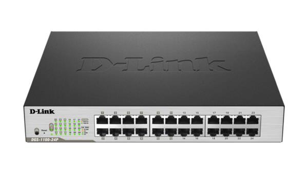 D-Link DGS-1100-24P 24-port 1Gb EasySmart Switch, 12x PoE