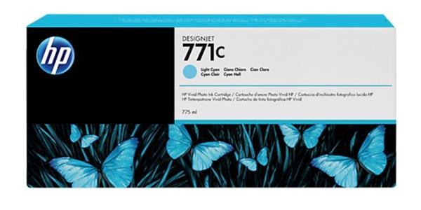 B6Y12A Svetloazúrová atramentová kazeta HP 771C Designjet, 775 ml