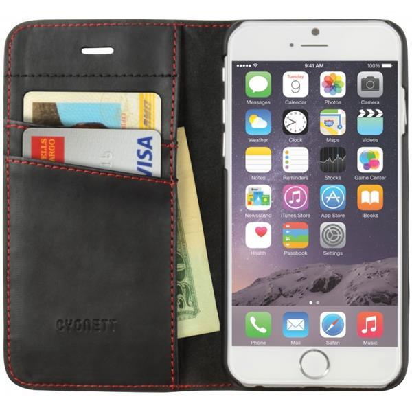 Cygnett, obal Urban Wallet pre iPhone 6/6S Plus, dizajn peňaženka, čierny s červeným lemom