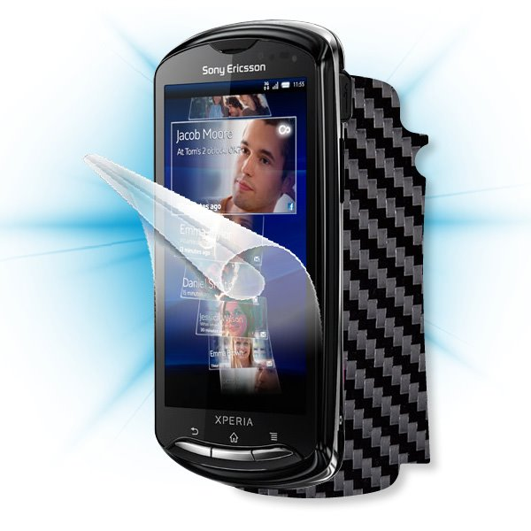 ScreenShield Sony Ericsson Xperia Pro - Films on display and carbon skin (black)