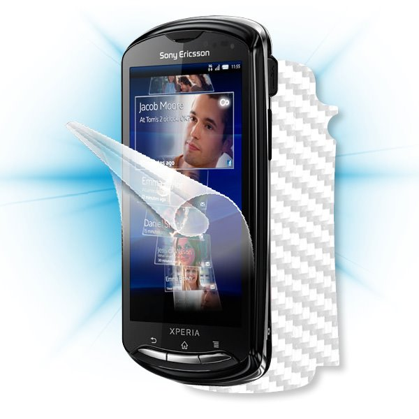 ScreenShield Sony Ericsson Xperia Pro - Films on display and carbon skin (white)