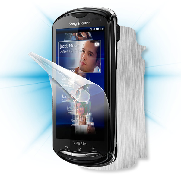 ScreenShield Sony Ericsson Xperia Pro - Films on display and carbon skin (silver)