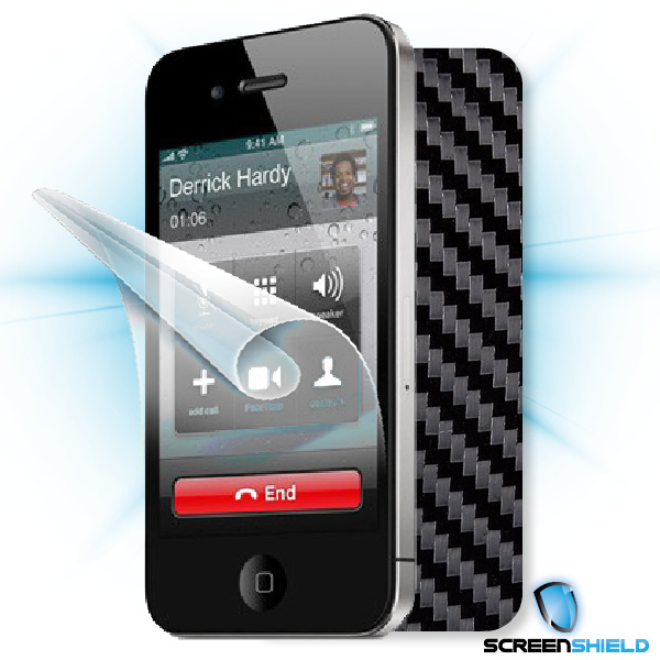 ScreenShield iPhone 4S - Films on display and carbon skin (black)