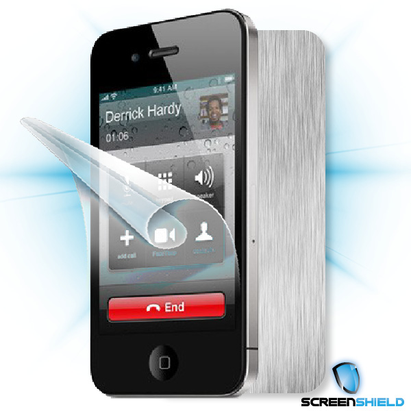 ScreenShield iPhone 4S - Films on display and carbon skin (silver)