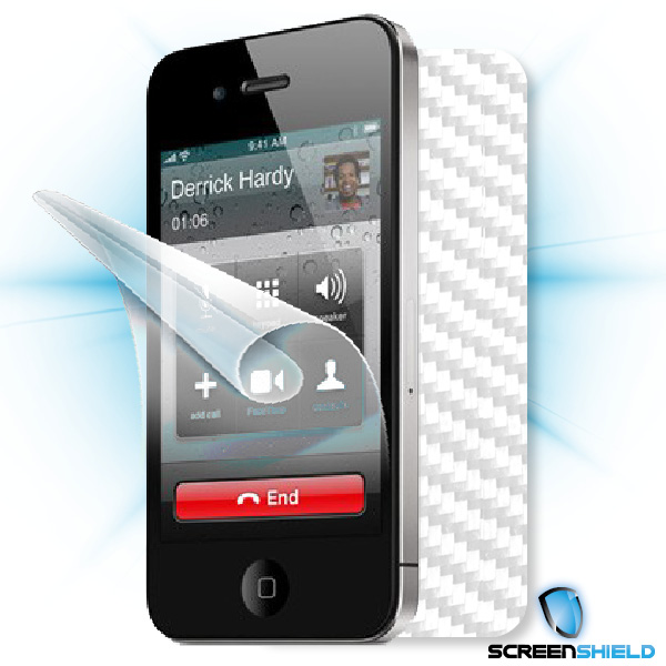 ScreenShield iPhone 4S - Films on display and carbon skin (white)