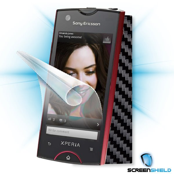 ScreenShield Sony Ericsson Xperia Ray - Films on display and carbon skin (black)