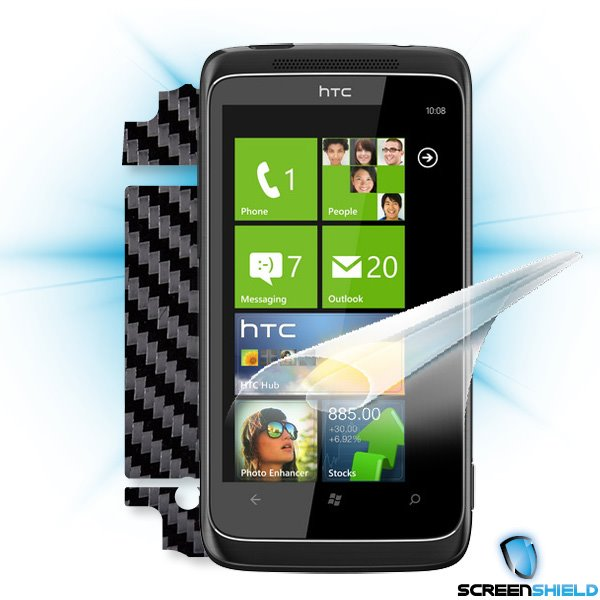 ScreenShield HTC 7 PRO - Films on display and carbon skin (black)