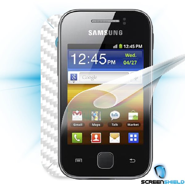 ScreenShield Galaxy Y S5360 - Films on display and carbon skin (white)