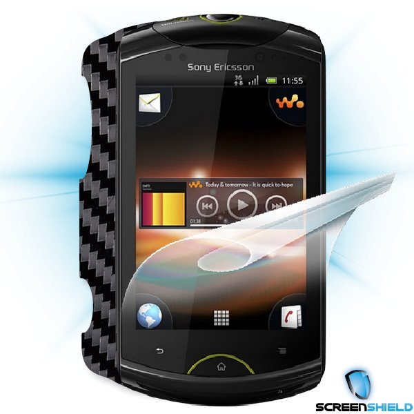 ScreenShield Live with walkman - Films on display and carbon skin (black)