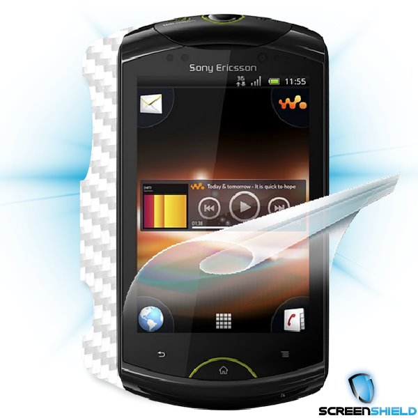 ScreenShield Live with walkman - Films on display and carbon skin (white)