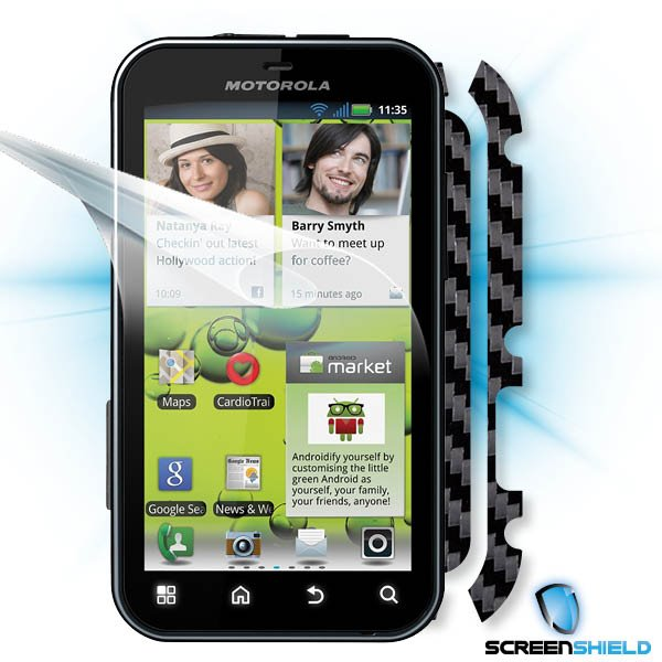 ScreenShield Motorola Defy+ - Films on display and carbon skin (black)