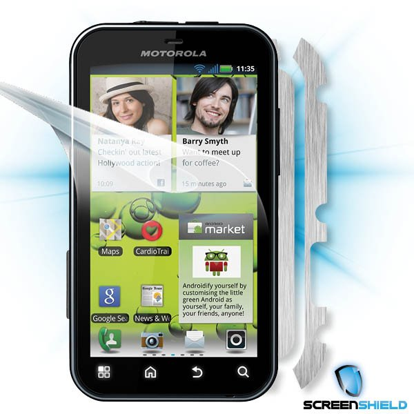 ScreenShield Motorola Defy+ - Films on display and carbon skin (silver)