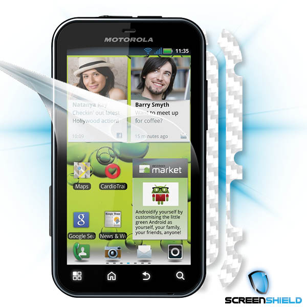 ScreenShield Motorola Defy+ - Films on display and carbon skin (white)