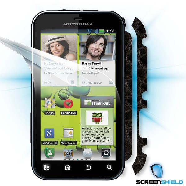 ScreenShield Motorola Defy+ - Films on display and carbon skin (leather)