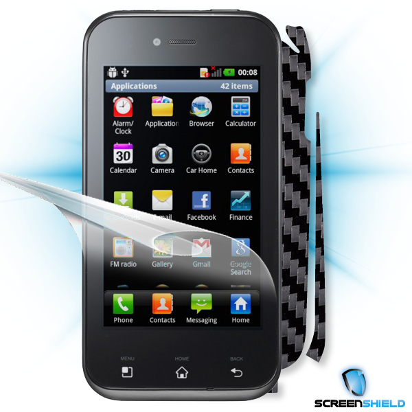 ScreenShield LG Optimus SOL E730 - Films on display and carbon skin (black)