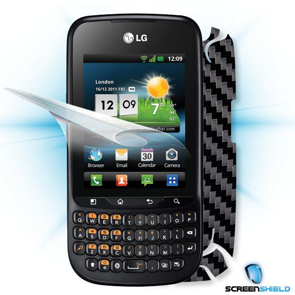 ScreenShield LG Optimus PRO C660 - Films on display and carbon skin (black)