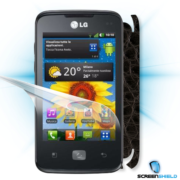 ScreenShield LG Optimus HUB E510 - Films on display and carbon skin (leather)
