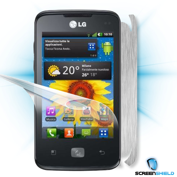 ScreenShield LG Optimus HUB E510 - Films on display and carbon skin (silver)