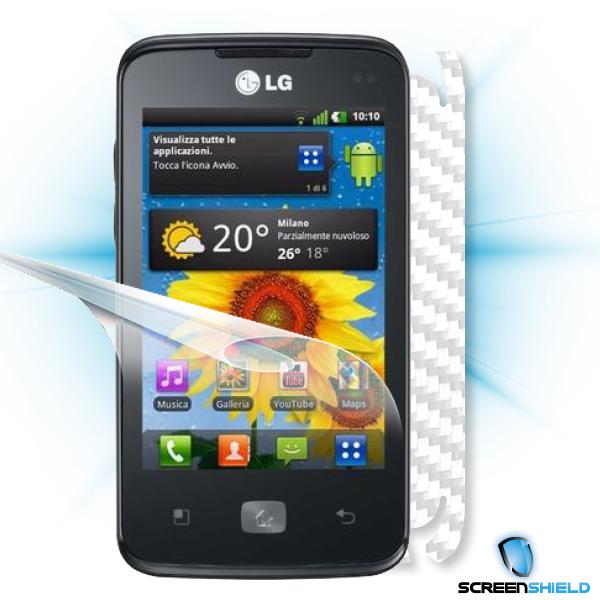 ScreenShield LG Optimus HUB E510 - Films on display and carbon skin (white)