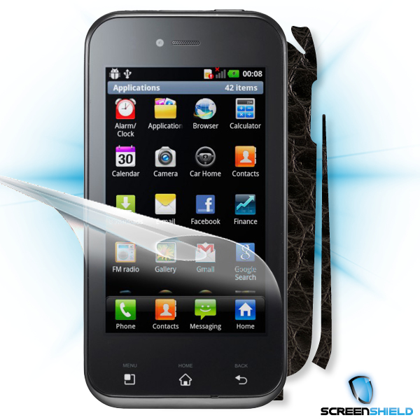 ScreenShield LG Optimus SOL E730 - Films on display and carbon skin (leather)