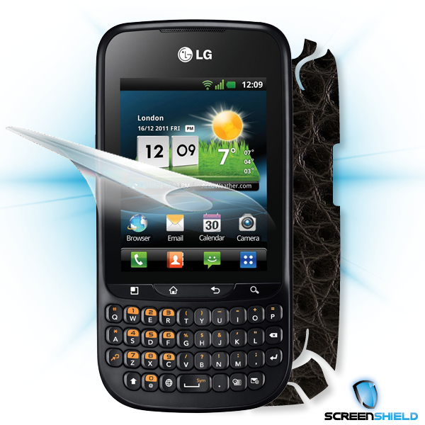 ScreenShield LG Optimus PRO C660 - Films on display and carbon skin (leather)