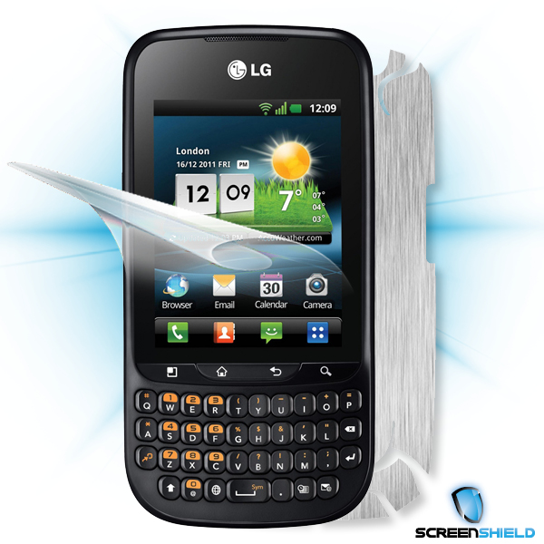 ScreenShield LG Optimus PRO C660 - Films on display and carbon skin (silver)