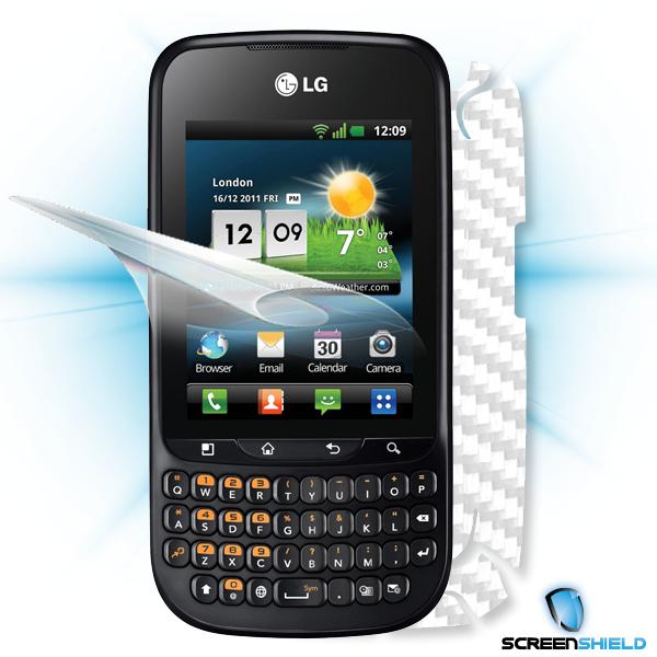 ScreenShield LG Optimus PRO C660 - Films on display and carbon skin (white)