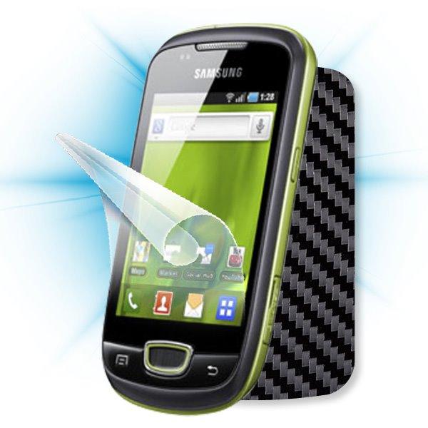 ScreenShield Samsung Galaxy mini (S5570) - Films on display and carbon skin (black)