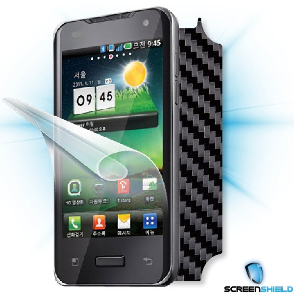 ScreenShield LG Optimus 2X (P990) - Films on display and carbon skin (black)