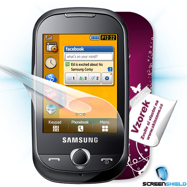 ScreenShield Samsung Corby (S3650) - Film for display protection and voucher for decorative skin (including shipping fee