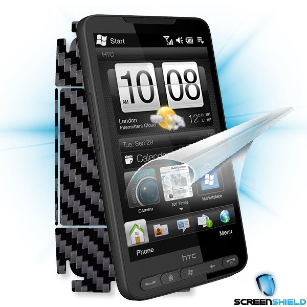 ScreenShield HTC HD2 - Films on display and carbon skin (black)