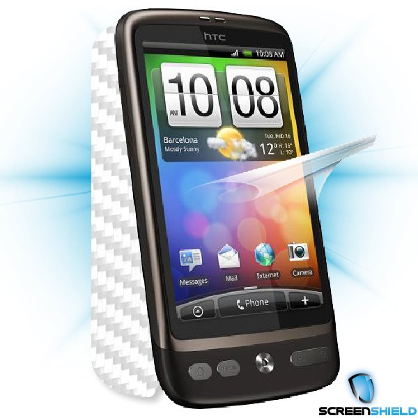 ScreenShield HTC Desire - Films on display and carbon skin (white)