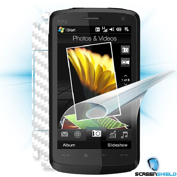 ScreenShield HTC Desire HD - Films on display and carbon skin (white)