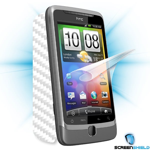 ScreenShield HTC Desire Z - Films on display and carbon skin (white)
