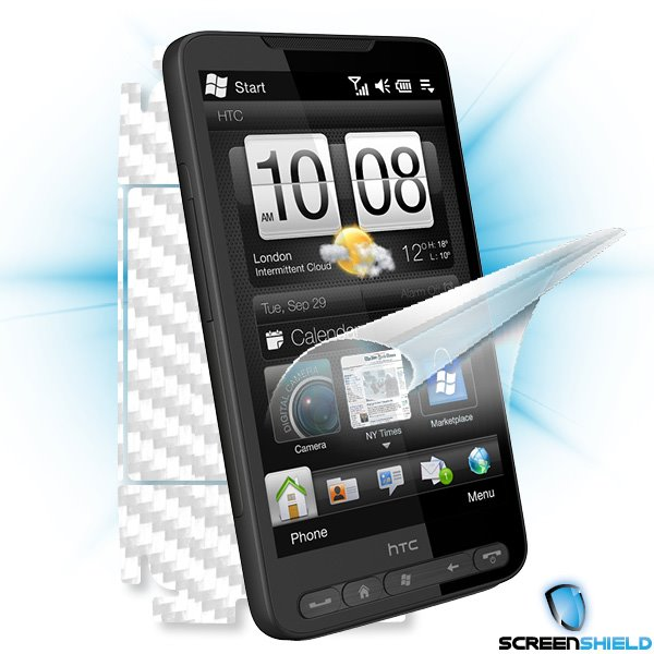 ScreenShield HTC HD2 - Films on display and carbon skin (white)