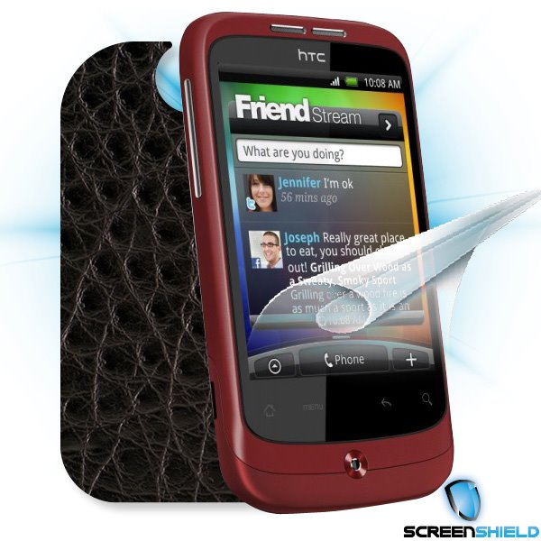 ScreenShield HTC Wildfire - Films on display and carbon skin (leather)