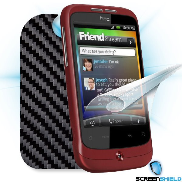 ScreenShield HTC Wildfire - Films on display and carbon skin (black)