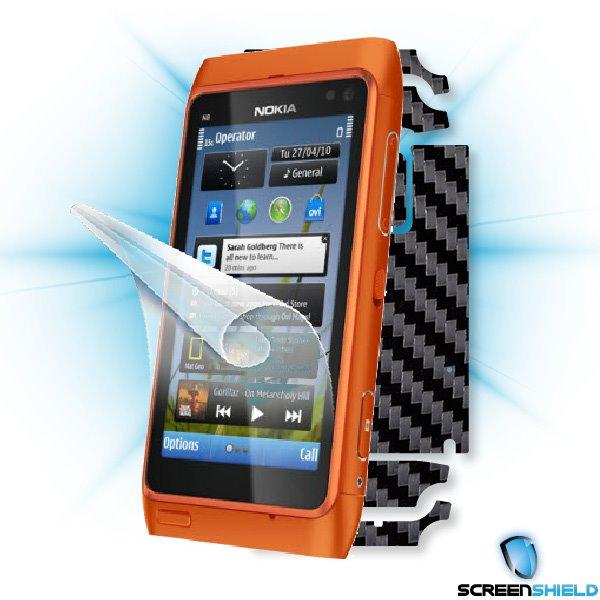 ScreenShield Nokia N8 - Films on display and carbon skin (black)