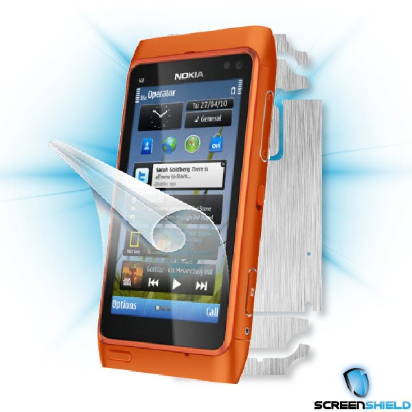 ScreenShield Nokia N8 - Films on display and carbon skin (silver)